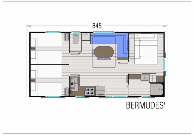 Le Mobil Home Bermudes Trio 3 chambres peut accueillir de 6 à 8 personnes. La chambre parentale est composé d'un lit 160x200 cm. La salle de bain est équipée d'une grande douche.
