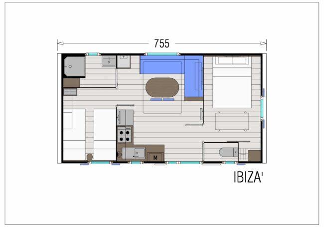 Le spacieux mobile home Ibiza 2 chambres peut accueillir de 4 à 6 personnes. La chambres parentale est composé d'un grand lit 160x200 cm à côté duquel peut être installé un lit bébé. La terrasse extérieure est couverte