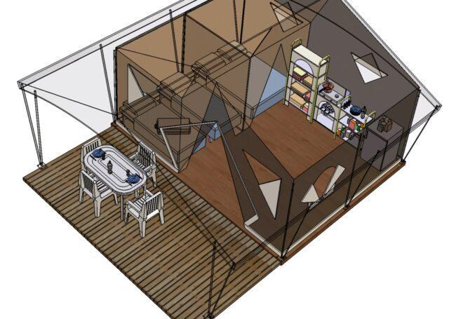 Plan de la tente lodge canada 5 personnes 2 chambres avec terrasse, coin cuisine, gaz et élétricité