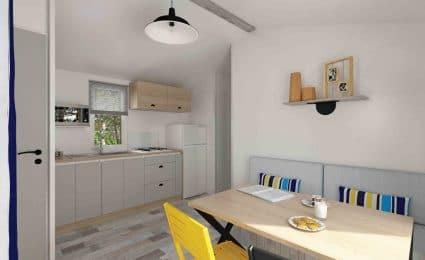 La cuisine du mobile home malaga au camping en Dordogne Périgord noir est entièrement équipée