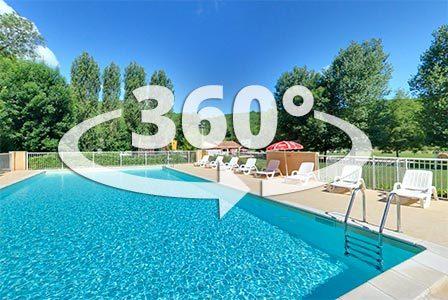 Découvrez notre grande piscine chauffée au camping en Dordogne Périgord Noir grâce à une visite virtuelle à 360 degrés