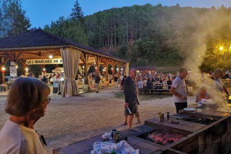 barbecue marché nocturne bouzic camping dordogne