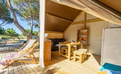 terrase extérieure tente lodge junior xl camping dordogne