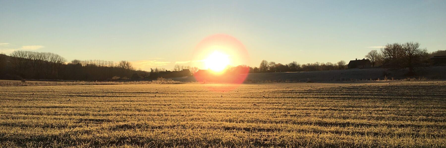 Coucher de soleil au camping en Périgord